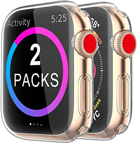 BRG Case for Apple Watch Series SE 6 5 4 Screen Protector 44mm, [2 Pack] Soft TPU HD Clear Ultra-Thin Overall Protective Cover Case for iWatch Series 6/5/4 SE 44mm