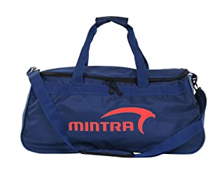 Mintra Polyester Contrast Front Logo Print Top Handle Unisex Sport Duffle Bag - Grey and Turquoise