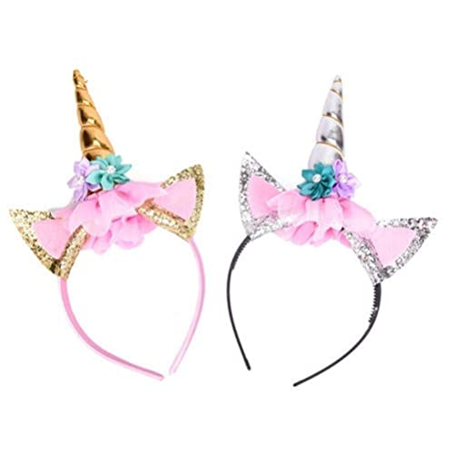 CosCosX 2 Pcs Girls Unicorn Horn Headband with Ears And Flowers for Kids  Adults Rainbow Birthday 733fd5d3bf4f