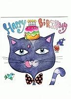 ねこの引出し フランス製ラメ入り『四角』のポストカード★「HAPPY BIRTHDAY」