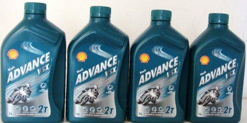 Shell Advance VSX 2T Teilsynthetisches Gleitmittel für Motorräder 4x 1L = 4Liter