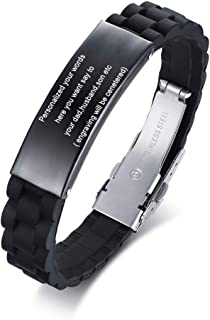 MEALGUET Black Stainless Steel Silicone ID Bracelet to My Dad Quote Engraved DAD Wristband Jewelry Gift for Daddy Father from Son Daughter