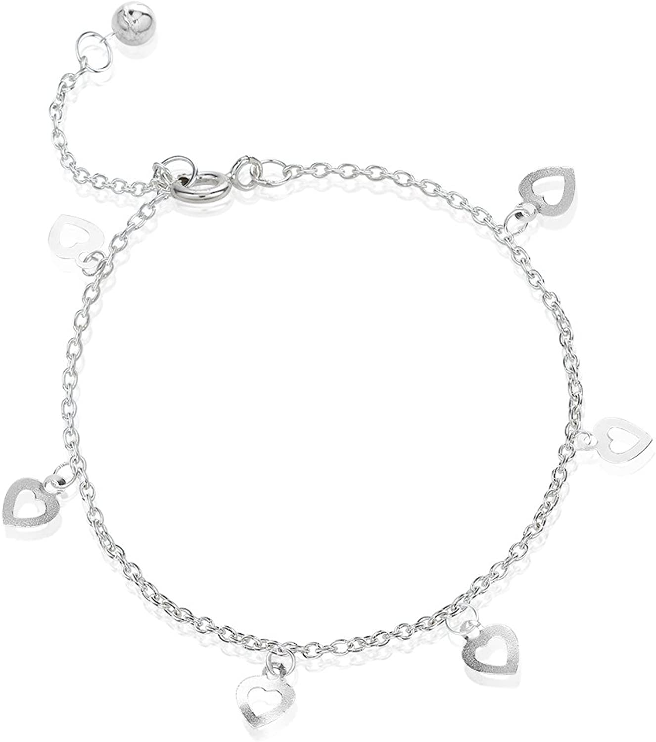 925 Sterling Silver Six (6) Open Heart Charms Anklet Adjustable 9.510.5 inches