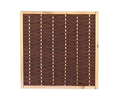 bambus-discount.com Weidenzaun Mia mit 120x120cm in Premium Qualität, gekochte Weide, Holz gebeizt