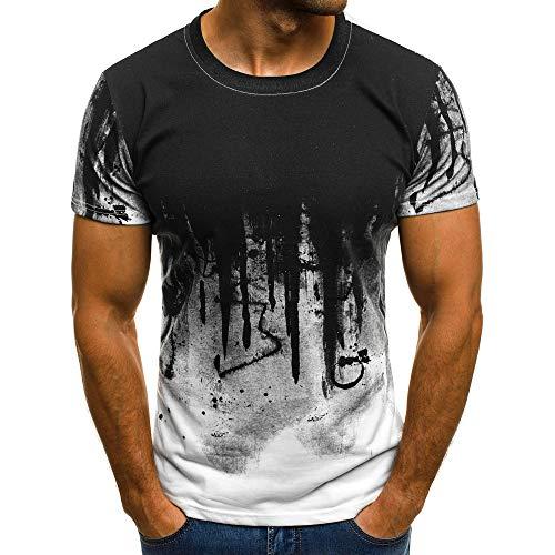 Xmiral Tops Sweatshirt Herren Slim Fit Short Sleeve/Langarm-Muskel-beiläufige Hemden(L,Kurze Ärmel-Weiß)