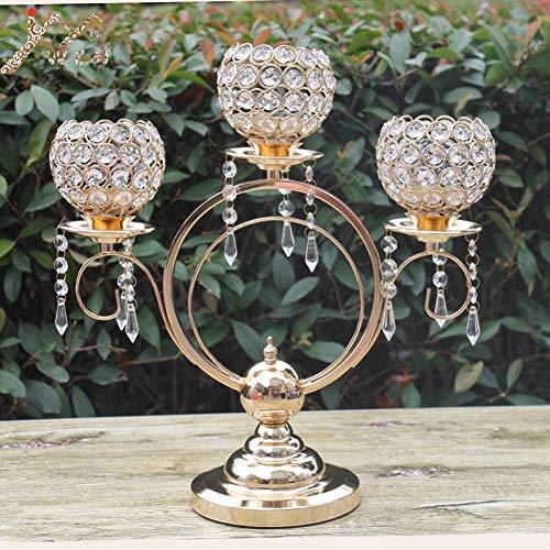 Kerstkaarsenhouders 43Cm hoogte 3-Arms metalen kroonluchters met kristallen hangers, glanzende gouden afwerking bruiloft kaarsenhouder,