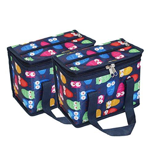 Teamook 2PCS lunch bag Cool bag per adulti e bambini blu gufo