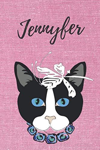Jennyfer personalisiertes Notizbuch Katze / Notizheft / Journal / Malbuch / Tagebuch / Kritzelbuch / DIN A5 / Geburtstagsgeschenk: individuelles ... Weihnachts & Geburtstags Geschenk für Frauen.