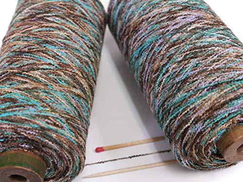 1/14.5シルクブークレカスリ(チョコ系) さりげないオシャレを楽しみたい方に 作品に上品な変化をもらたしてくれる絹糸です。