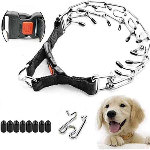 """Supet Dog Prong Collar, Dog Pinch Training Collar with Quick Release Snap Buckle for Small Medium Large Dogs(Packed with One Extra Links) S (Neck Girth: 14""""--Weight: Around 35 lbs)"""