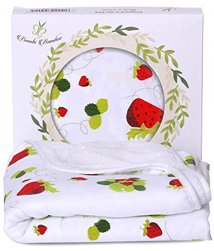 Bambi Bamboo Hooded Baby Bath Towel - Luxury Spa Super Soft for Sensitive Skin - Strawberry, 2 Layers, Reversible - Absorbent, Keep Dry&Warm- Your Shower Registry Gift