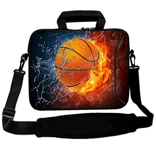 RICHEN 9,7 10 10,1 10,2 Zoll Messenger Bag Tragetasche Sleeve mit Griff Zubehör Tasche für 17,8 bis 25,9 cm Laptops/Notebook/ebooks/Kinder-Tablet/Pad (17,8 - 25,9 cm, Basketball Fire)