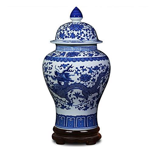 ufengke Jingdezhen Klassische Blaue und Weiße Porzellan Keramik Vase,Drachen Blumenvase,China Ming-Stil,Höhe 15