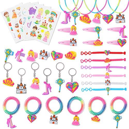 Ulikey 42 Stück Prinzessin Schmuck Mädchen Spielzeug Set, Prinzessin Kostüme Kinderschmuck Mädchenschmuck Zubehör Halskette Ringe Armbänder mit Aufkleber Geschenk für Geburtstag Rollenspiel (Farbe 4)