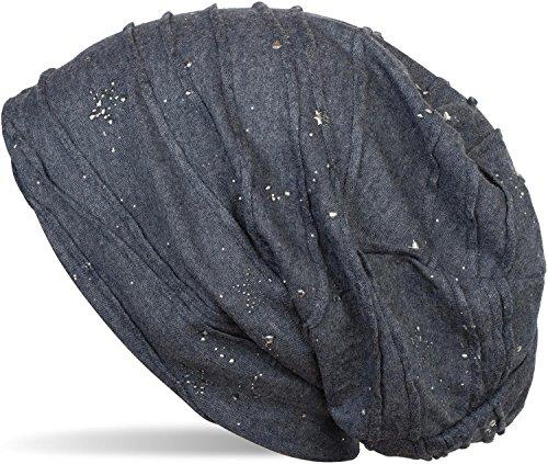 styleBREAKER Beanie Mütze mit Metallic Splashes Sterne und Pailletten, Slouch Longbeanie, Unisex 04024136, Farbe:Jeansblau meliert