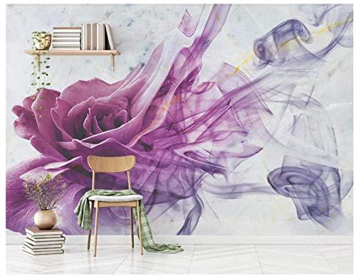 Abstract Lila bloem rook lijnen muurschildering behang 3D Home woonkamer slaapkamer kinderkamer club decoratie kunststicker papier foto muursticker (W)500X(H)350cm