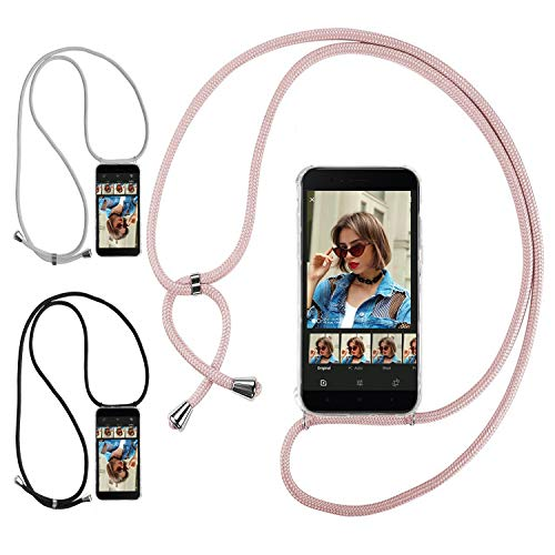 Ingen 3Pcs Funda con Cuerda para Xiaomi Mi A1 - Carcasa Transparente TPU Suave Silicona Case con Colgante - Negro + Rosa + Gris