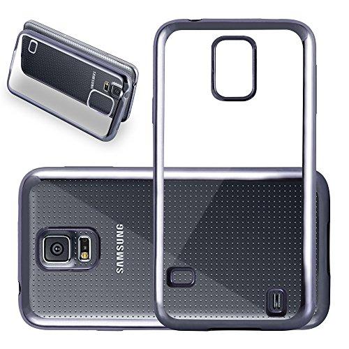 Cadorabo Samsung Galaxy S5 / S5 Neo Custodia Silicone TPU Cromo in Nero Cromo – Morbida Cover Protettiva Super Sottile con Bordo Protezione – Back Case Ultra Slim Gel Bumper Fina