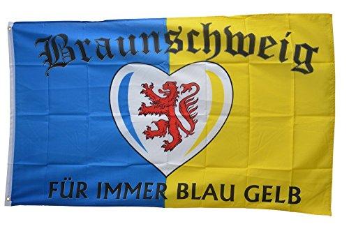 Flaggenfritze Fahne/Flagge Braunschweig Für Immer blau gelb + gratis Sticker