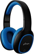 pTron Studio Over Ear Bluetooth 5 0 Wireless Headphones Hi Fi Sound with Deep Bass 12Hrs Playback Ergonomic Lightweight Wireless Headset Soft Cushions Earpads Aux Port Mic Blue