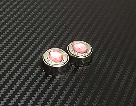 Pink JR2 Luxury Handmade Premium Rhinestone Metal License Plate Frame with Gift Box+Free Premium Diamond Anti-Theft Screw Cap