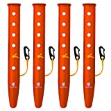 GEERTOP テントペグ アルミニウム製 ビーチ キャンプ 雪 バックパック旅行 ハイキング用 ネイル コードとフック付き (オレンジ, 31 cm)