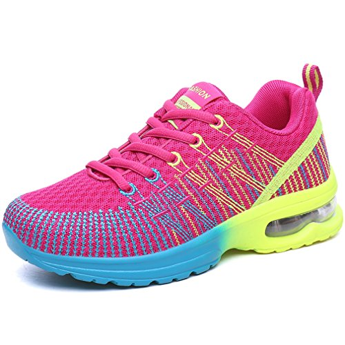 Solshine Damen Schnür Fitness Laufschuhe Sneakers Turnschuhe Low Top Pink3 40EU