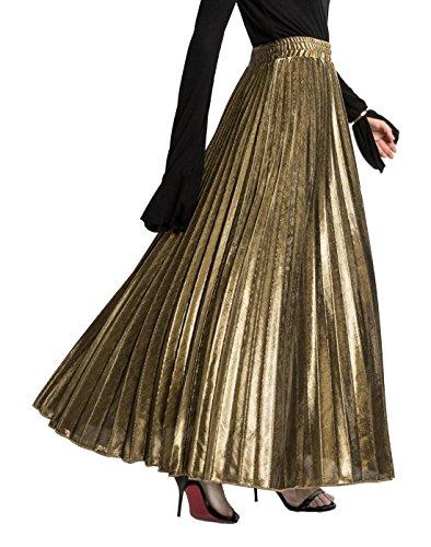 CHARTOU Women's Premium Metallic Shiny Shimmer Accordion Pleated Long Maxi Skirt (Medium, Gold)