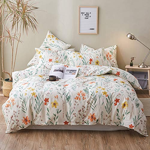 Garden Cotton Duvet Cover Queen with Red Yellow Flower Printed,Green Branch Leaves Girls Bedding Set,Bright Elegant Colorful Comforter Quilt Cover with Zipper Closure
