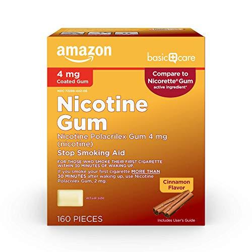 Amazon Basic Care Nicotine Polacrilex Coated Gum 4 mg (nicotine), Cinnamon Flavor, Stop Smoking Aid; quit smoking with nicotine gum, 160 Count