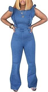 Yootiko Women Summer Sleeveless Backless Bodycon Jumpsuit High Waist Jeans Wide Leg Pants Romper with Zipper Plus Size