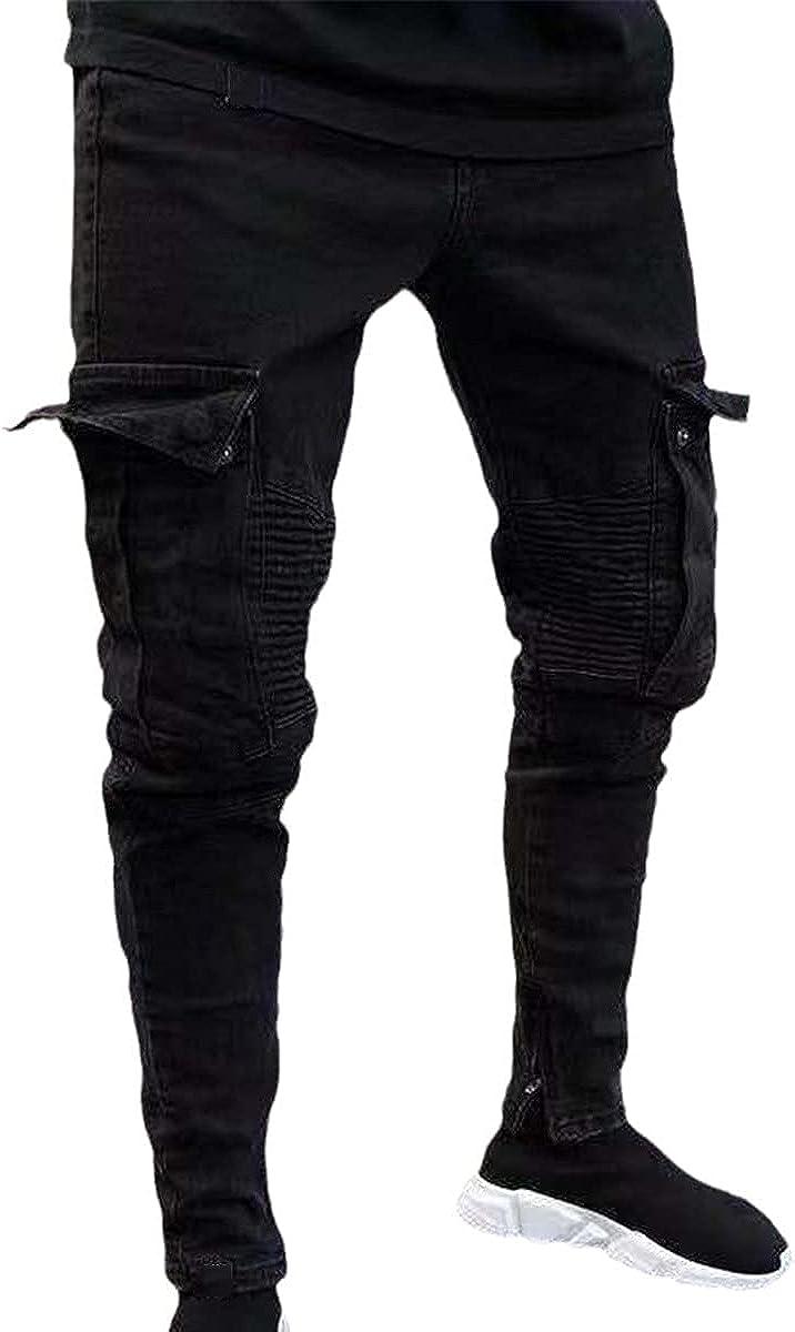 CACLSL Fashion Pencil Pants Ripped Jeans Slim Spring Ripped Men's Fashion Thin Skinny Jeans Hip Hop Pants