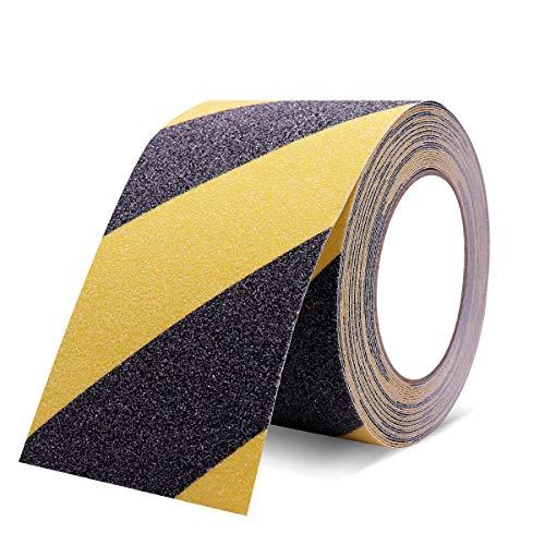 SUKIYO 滑り止めテープ 100mmx10m 階段 脚立 床 屋外 屋内 転倒防止 安全対策 事故防止 (100mmx10m, 黄色+ブラック)