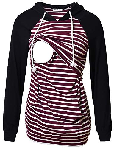 GINKANA Women's Nursing Hoodie Sweatshirt Long Sleeves Breastfeeding Maternity Tops Casual Clothes with Pocket