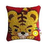Funda De Almohada Latch Kits De Gancho Kit De Fabricación De Kit Tiger Patrón Costura Cojín Cubrir Hand Craft Crochet para Niños Adultos Principiantes, 17'* 17'(Size:42/16.5in,Color:1)