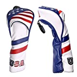 PLUSKER Golf Club Hybrid Head Cover USA American Flag Stars and Stripes Pattern Synthetic Leather Patriotic Headcover with Interchangeable Number Tags 2,3,4,5,6,UT