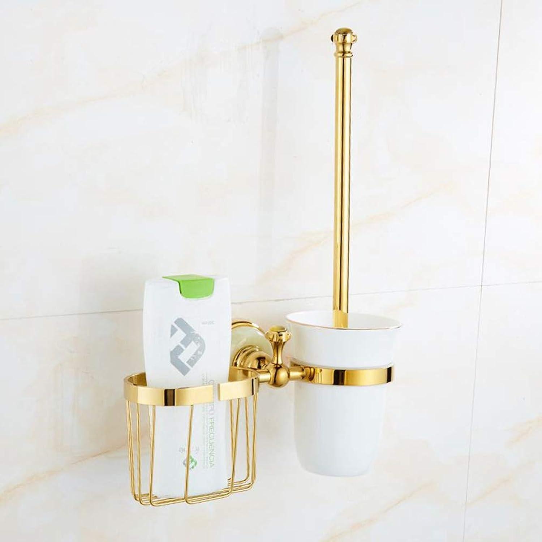 LUDSUY Bathroom accessoriesAll Copper Bathroom Toilet Holder Jade Set Versatile Shelving Rack Toilet Brush Toilet Brush, D