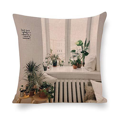 N/ A - Fundas de almohada para decoración del hogar, decoración de casa familiar, plantas, ventana, diseño moderno, lino, fundas de cojín con impresión fotográfica para sofá de 22 x 22 pulgadas l7boo10omgcm