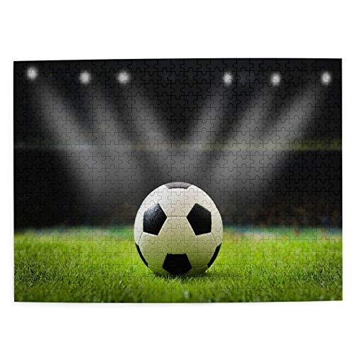 Rompecabezas con Imágenes 500 Piezas,Balón de fútbol en el estadio del campo de fútbol con luz nocturna,Educativo Juego Familiar Arte de Pared Regalo para Adultos,Adolescentes,Niños,20.4' x 15'