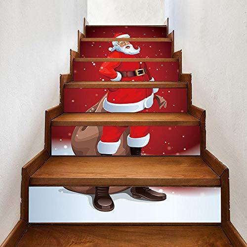 GVRPV Pegatinas para escaleras6 uds.Pegatinas Decorativas de Navidad para Azulejos de Papá Noel, calcomanías Autoadhesivas para escaleras Decorativas Creativas en 3D para Navidad