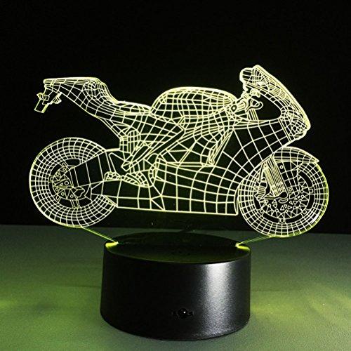 ledmomo 3d Illusion lámpara NIGHT LIGHT, 7colores Cambio de interruptor táctil mesa decoración de mesa lámparas (moto)