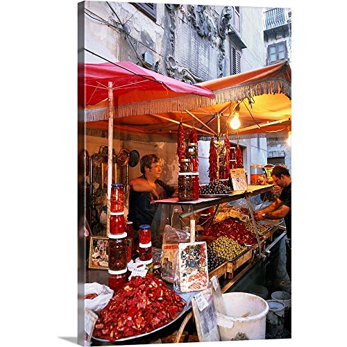 "Italy, Sicily, Palermo, Vucciria, Typical Market Canvas Wall Art Print, 12""x18""x1.25"""