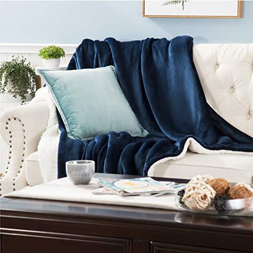 Bedsure Sherpa Fleece Blanket Throw Blanket - Navy, Thick Blanket Plush Warm Blanket Fuzzy Soft Cozy Blanket Microfiber