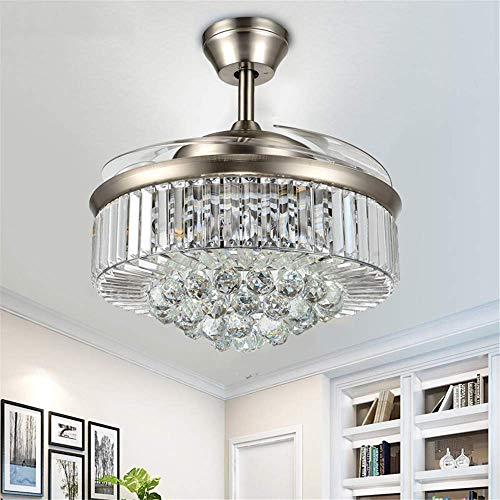 RuiWing 42-Inch Modern Fandelier Crystal Retractable Blades Ceiling Fans with LED Light and Remote Control Light Changes Noise-Free Chandelier Fan for Indoor Living Room Bedroom(Crystal Silver)