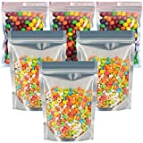 Mylar Bags, 90 Pack 9 Sizes 7mil Mylar Bags for Food Storage, Resealable mylar ziplock bags, Stand Up Pouch Bags, Clear Front with Aluminum Foil Back, Zipper Bags with Gusset Bottom for Multipurpose