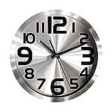 JYBZ Reloj de Pared de Cuarzo silencioso, Marco de Metal Redondo de Acero Inoxidable Cubierta de Vidrio Decorativo para Sala de Estar Oficina Plata