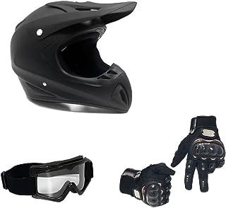 MMG 27 Combo Adult Motorcycle Off Road Helmet DOT, MX ATV Dirt Bike Motocross UTV (Large, Matte Black) with Riding Gloves and Goggles