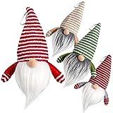 D-FantiX Gnome Christmas Candy Jar Ornaments, 4 Pack Handmade Swedish Gnomes Cookies Jar with Lids Decorative Storage Box Scandinavian Santa Table Christmas Tree Hanging Ornaments Decorations