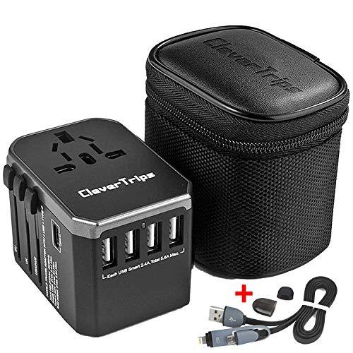 CleverTrips™ Universal Reiseadapter Reisestecker Alles In Einem Weltweit Internationales Ladegerät Netzstecker Travel Adapter mit 5.6A Smart Power USB und 3.0A USB Typ-C für USA EU UK AUS (Black)
