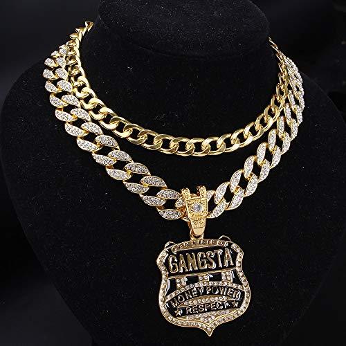Médaille d'or Hip Hop & 16'chaîne cubaine Bling pailleté Complet glacé Miami Curb cubain Tour de Cou chaîne Hommes Rock Collier Ensemble de Costume